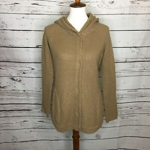 Anthropologie-Sparrow-Womens-Medium-Hooded-Sweater-Knit-Cardigan-Brown-Tan-J95