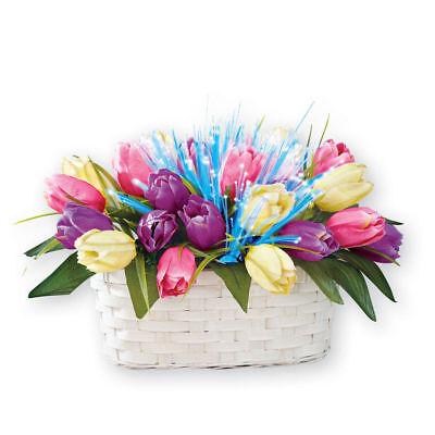 Fiber Optic Lighted Tulip Basket Tabletop Centerpiece Spring Easter Decorations