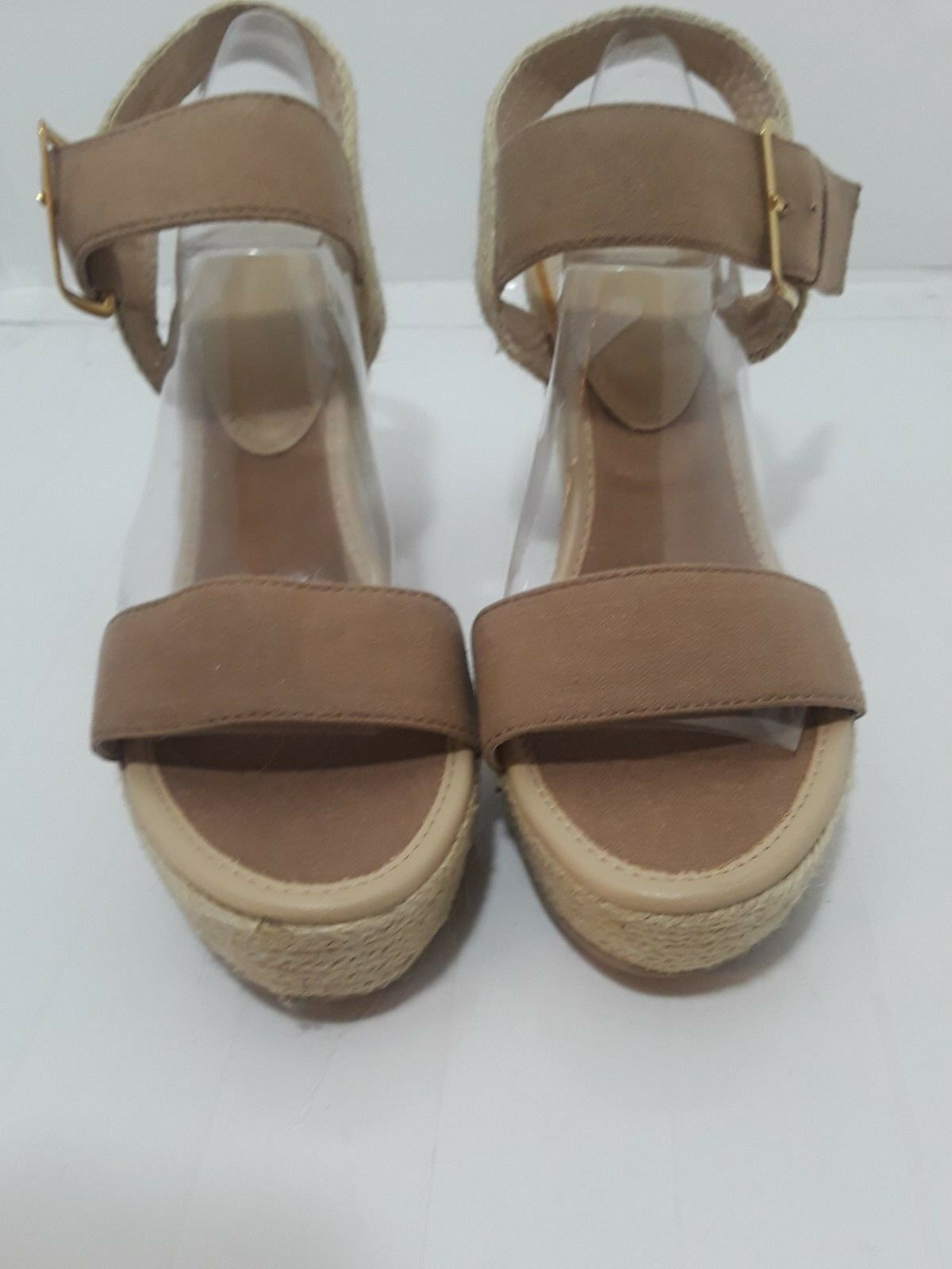New York and Company WoHommes 's Light Fabric Brown Fabric Light Upper Wedge Shoes Size 9 M 982433