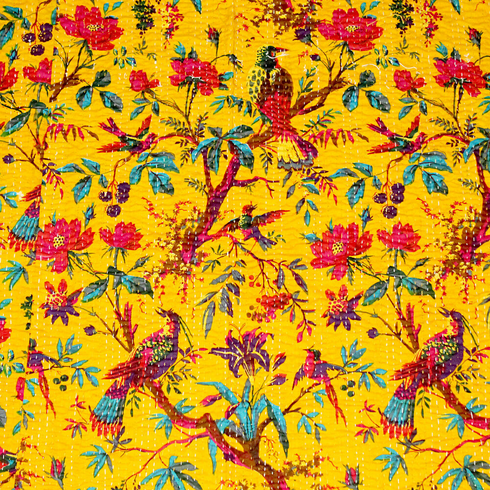 Yellow Kantha Quilt Cotton Bedspreads Handmade Blanket Hippie Vintage Bed Cover
