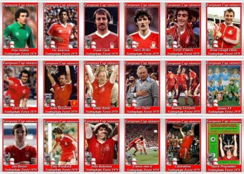 Nottingham Forest europea de Copa Ganadores 1979 fútbol Trading Cards