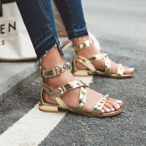 Gladiator Women Flat Low Heel Cross Ankle Strap Pearls Sandals Beach Buckle Shoe