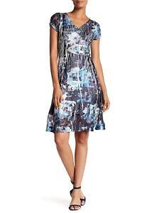 bfbb7c34bae  278 NWT Komarov Short Sleeve V-Neck Flared Dress Floral Size Medium ...