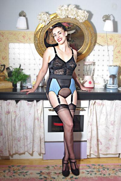vintage look Mieder Hüfthalter Strumpfgürtel Strumpfhalter 6 Strapse AUSVERKAUF
