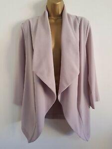 NEW-Ex-Ev-ns-Plus-Size-14-28-Stone-Grey-Crepe-Waterfall-Jacket-Blazer-3-4-Sleeve