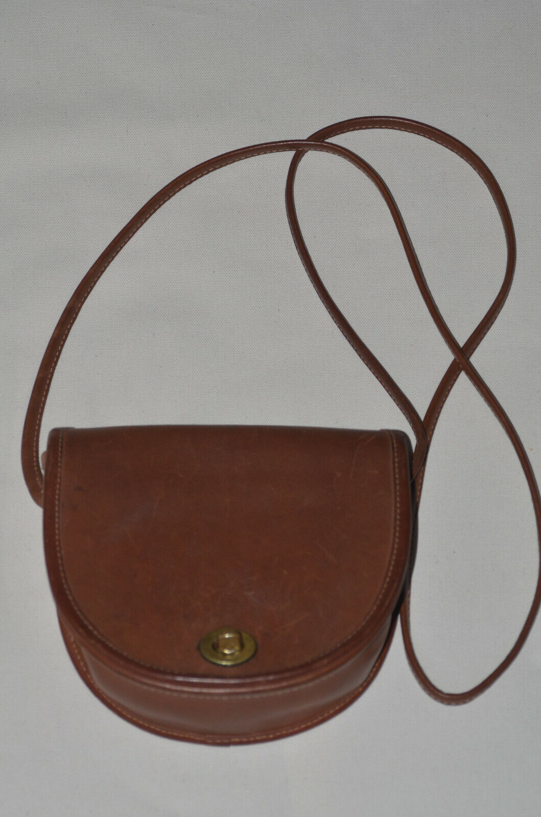 Vintage Coach Shoulder Bag Brown Leather Small Saddle Pouch Style