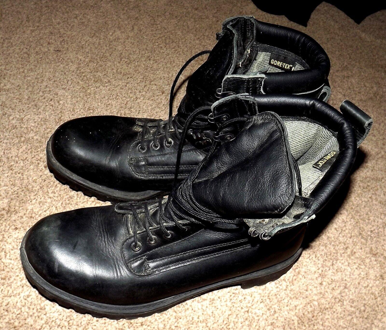 Herren HEAVY DUTY UK 10 BLACK LEATHER GORTEX LACE UP Stiefel STEEL TOE CAPS MILITARY