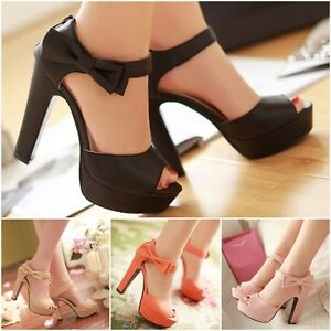 e2755cc056d3 Summer Platform Lady Women Peep Toe Ankle Strap Sweet Thick High ...