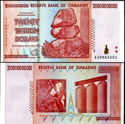 ZIMBABWE 20 TRILLION DOLLARS 2008 P 89 AA PREFIX in 50 100 TRILLION SERIES UNC