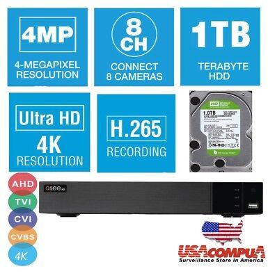 Q-SEE 8 CHANNEL QTH85-1 DVR UHD 4K 4MP CAMERA  AHD-TVI-CVI 1TB HARD DRIVE 2018