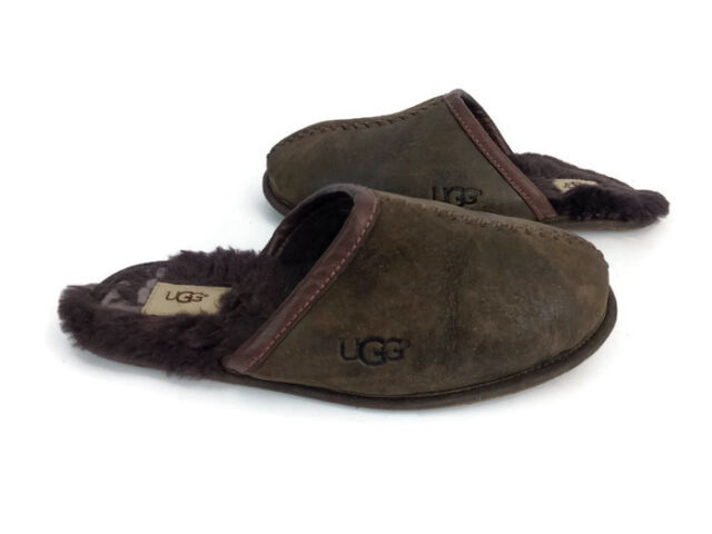 0dc7718c26d5 UGG Australia Scuff Men s Brown Leather Slip On Sheepskin Clog Slippers  Size 9