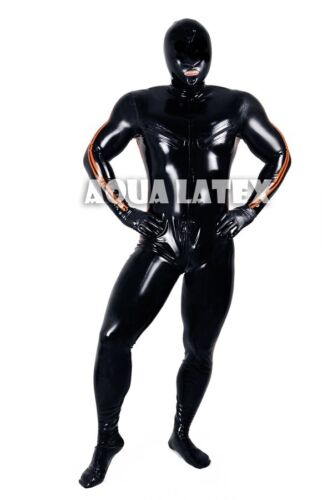 Man Tight Catsuit Latex Catsuit Rubber Bodysuit with Stripes and Nipple Zippers