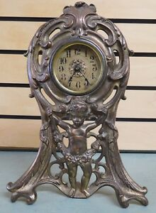 Antique-1906-Brass-Cast-Mantle-Wind-Up-Clock-with-Figure-Pat-Oct-2-1906
