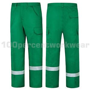 Aqua-Bottle-Green-High-Visibility-Polycotton-Ballistic-Cargo-Work-Trousers-Pants