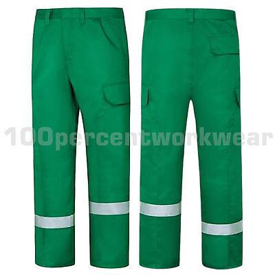 Aqua Bottle Green High Visibility Polycotton Ballistic Cargo Work Trousers Pants
