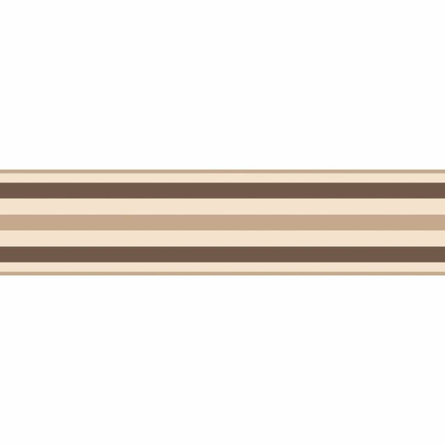 Fine Decor Ceramica Stripe Self Adhesive Border Natural / Chocolate - FDB50023