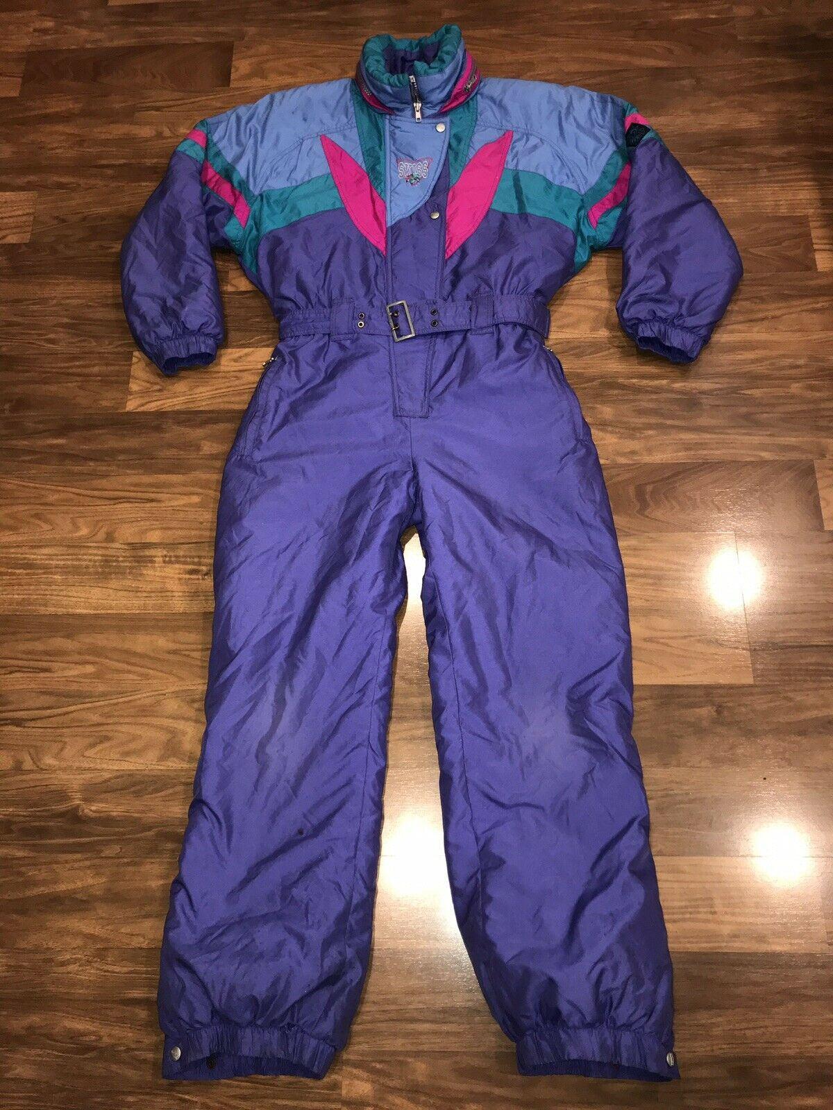 Vtg 80s 90s Womens Large SKISS One Piece  SKI SUIT Snow Bib Snowsuit Gaper Party  first time reply