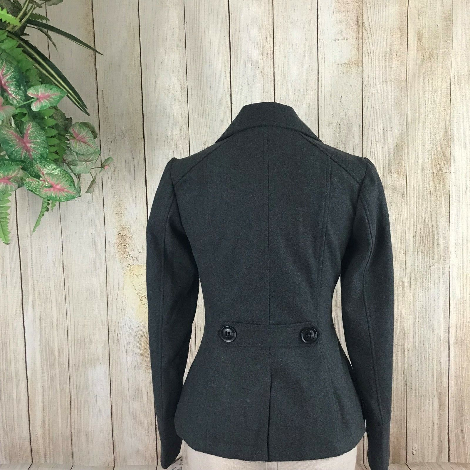 Celebrity Pink  89.5 Women's Double Double Double Breasted Lined Peacoat Charcoal Size XS 7f5730