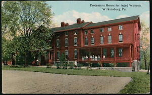 WILKINSBURG-PA-Protestant-Home-for-Aged-Women-Antique-Flag-Cancel-Postcard-Vtg