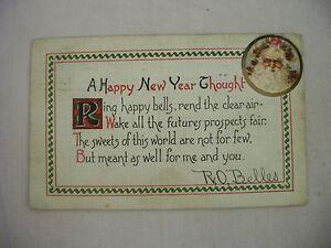 VINTAGE-EMBOSSED-NEW-YEAR-POSTCARD-CLASSIC-PORTRAIT-OF-SANTA-CLAUS-W-POEM-1908