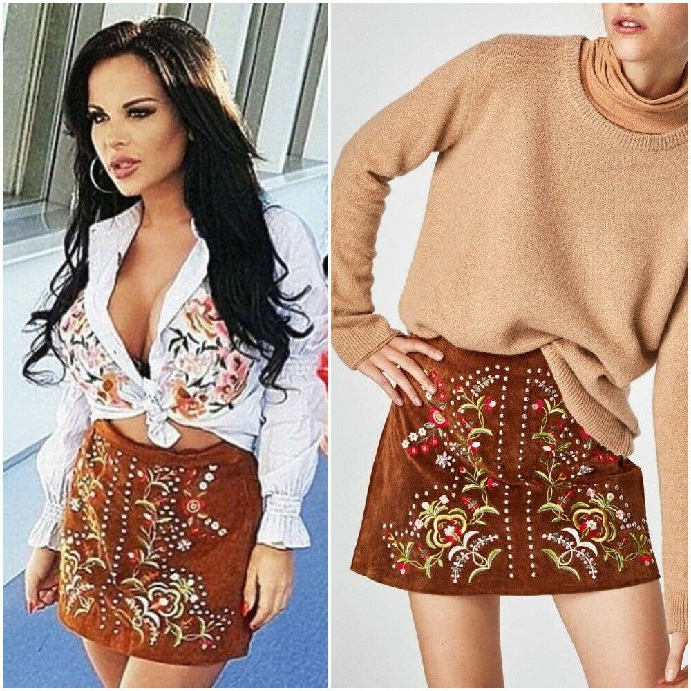 ZARA CAMEL TAN SUEDE LEATHER EMBROIDERED STUDDED A-LINE MINI SKIRT SIZE M