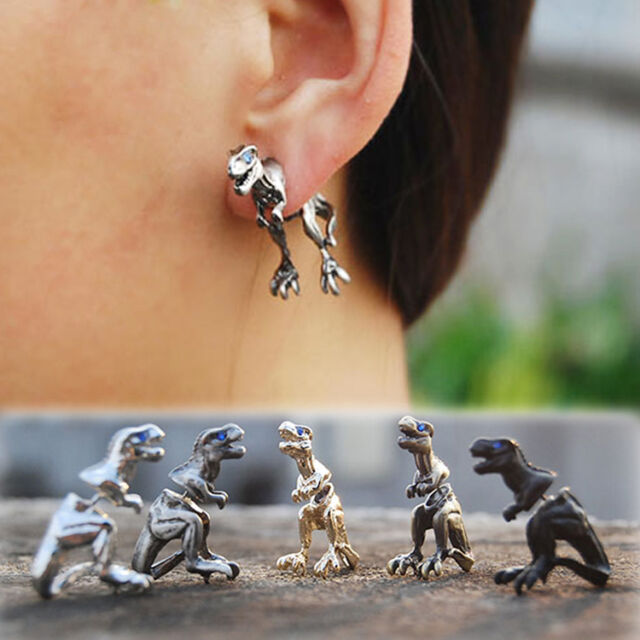 Hot Cool Punk Rock Temptation Alloy Dinosaur Dragon Ear Cuff Wrap Clip Earrings