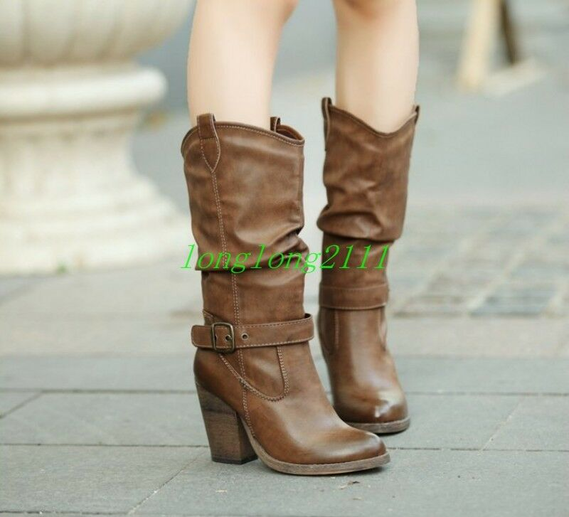 Womens Leather Loose Chunky Heels Retro Vintage Mid Calf Boots Ladys Casual shoes