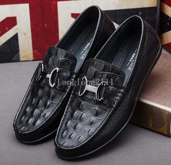Leisure Men's Flats Slip on Loafers Low top Breathable Leather Shoes Driving Sz