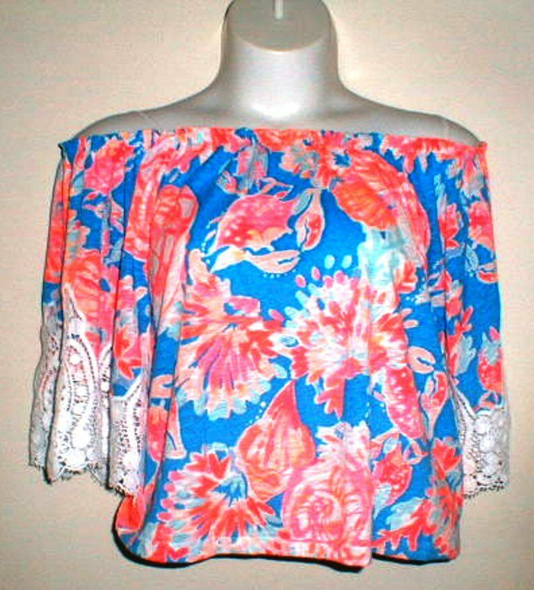 LILLY PULITZER NAUTICAL PRINT OFF THE SHOULDER BELL SLEEVE BLOUSE Größe SMALL