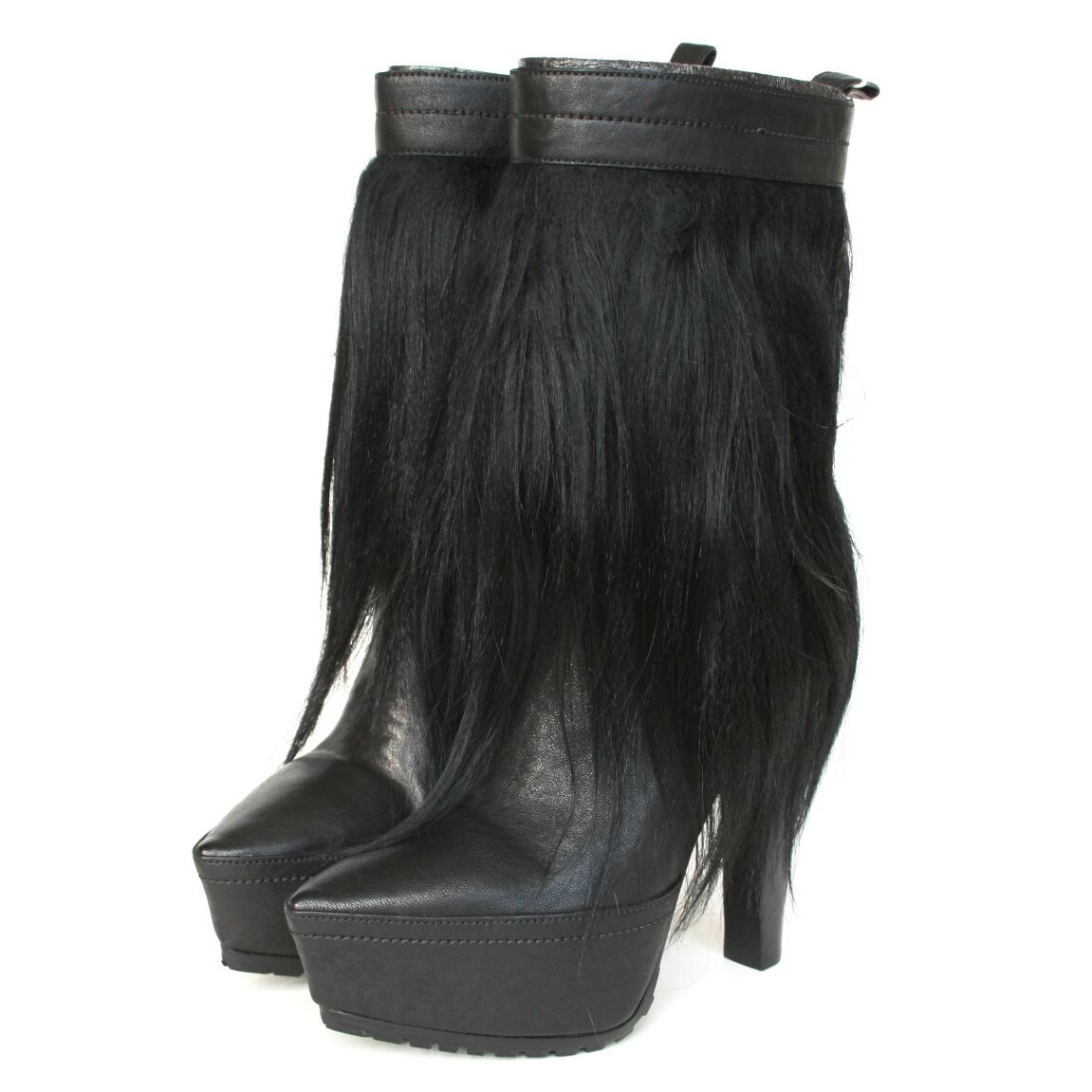 sconto online di vendita ALEXANDER WANG  925 nero goat goat goat fur pointed toe platform Polina stivali 35-IT 5 NEW  comprare a buon mercato