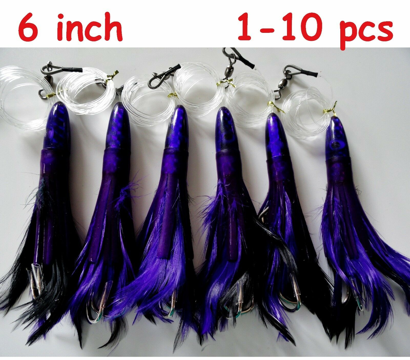 1-10 pcs 6  Rigged Tuna Feathers Trolling Fishing Lures - Purple