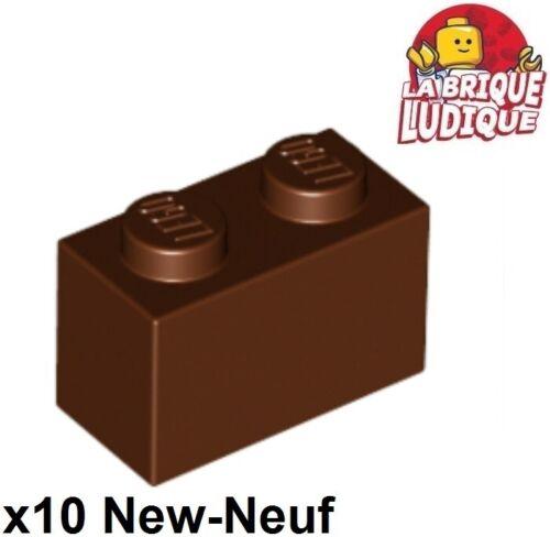 Lego 10x Brique Brick 1x2 2x1 marron//reddish brown 3004 NEUF