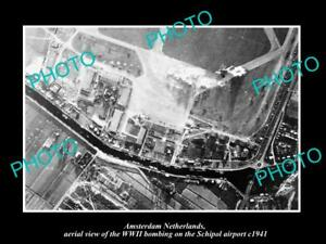 OLD-LARGE-HISTORIC-MILITARY-PHOTO-AMSTERDAM-HOLLAND-BOMBING-SCHIPOL-AIRPORT-1941