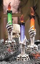 Set/3 LED Lighted Halloween Skull & Skeletal Hand Bones Taper Candles 8x2.5 NIB
