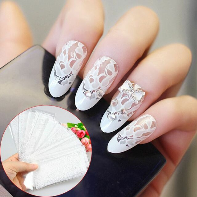 20pcs DIY White Lace Manicure Decals Flower Stickers Nails Art ...