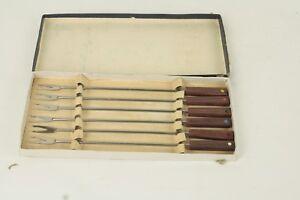 Set of 6 Vintage Fondue Fork Set Wood /& Stainless Fondue Fork Set