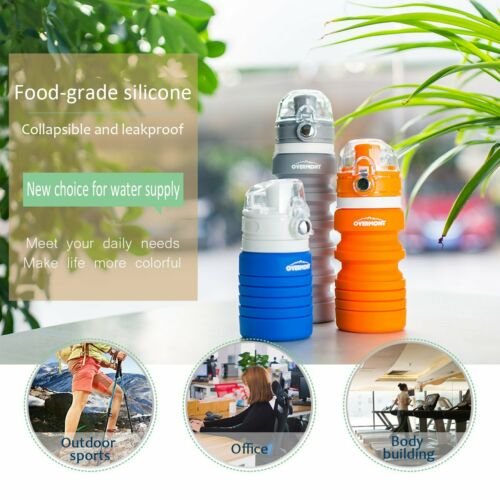 Soft Silicone Water Bottle Reusable Collapsible Climbing Biking Travel Bottle
