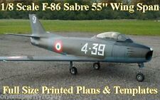 "F-86 Sabre 55""WS Giant 1/8Scale RC Airplane Full Size PRINTED Plans & Templates"