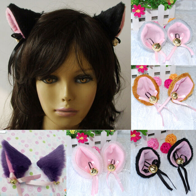 COS Cat Kitten Ears Hair Bell Clip 6 Colors Halloween Party Anime Costume Kawaii