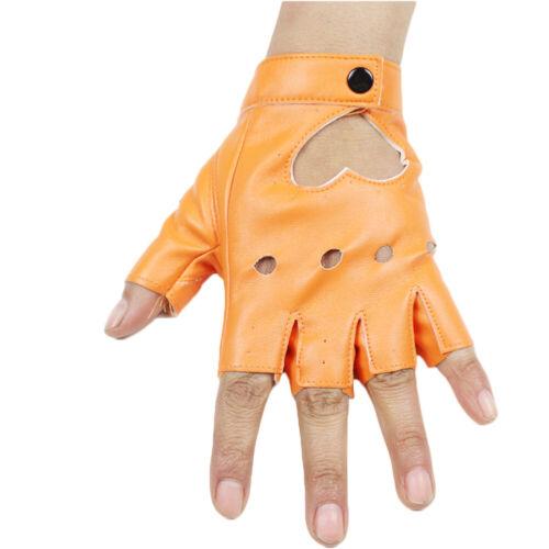 Fashion Women/'s Punk Short Leather Gloves Half Finger Dance Motorcycle Gloves