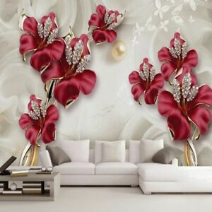 Details About Wall Mural Waterproof Wallpaper Red Floral Photo Jewelry Room Interior Coverings