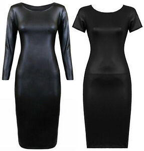 Womens-Plus-Size-Wet-Look-PVC-Shiny-Long-Bodycon-Midi-Dress-16-22