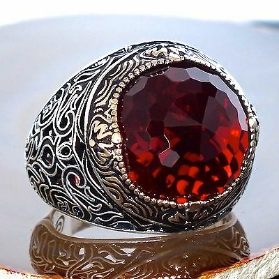 Mens ring 925 Sterling Silver Ruby Red Zirconia size US11 free resizing