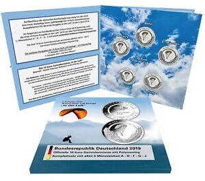 BRD 5 x 10 Euro 2019 In der Luft Komplett Satz A D F G J im Folder
