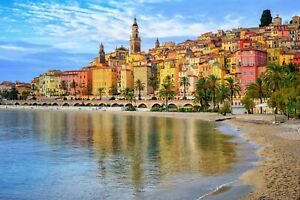 Beautiful-Colourful-Houses-Seaside-City-Wall-Art-Large-Poster-amp-Canvas-Pictures
