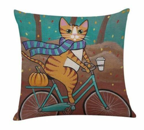 Vintage Retro Cat Riding Bike  Cushion Cover  Linen Pillow Case Steampunk t5