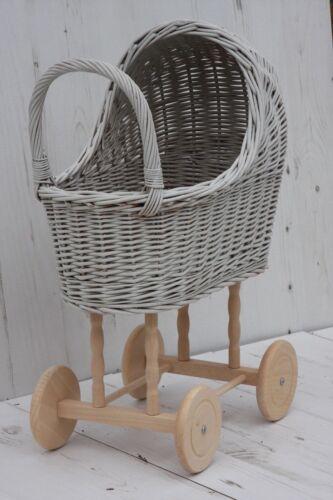 Dimensione Medio-stile vintage in vimini in legno a mano bambole CARROZZINE-handmade