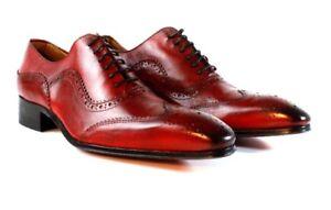 Scarpe Ivan Italiana Eleganti Pelle Artigianale Dressy Rosso In Uomo Troia qSqFP84w