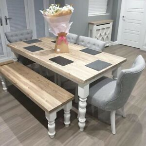 Chunky 6ft Farmhouse Table With 4 Grey Fabric Chairs And Bench New Ebay