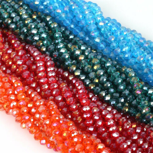 Wholesale 4*6//6*8mm Faced Rondelle Crystal Glass Loose Spacer Beads Jewelry Dw